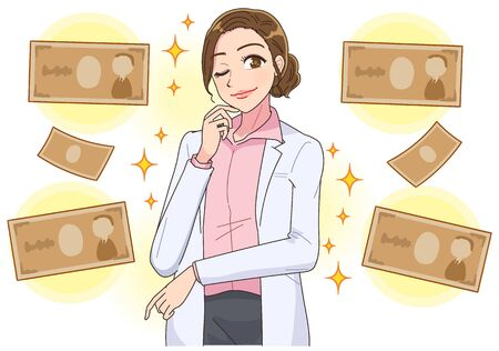 Beautiful woman in white coat.Image about money.
