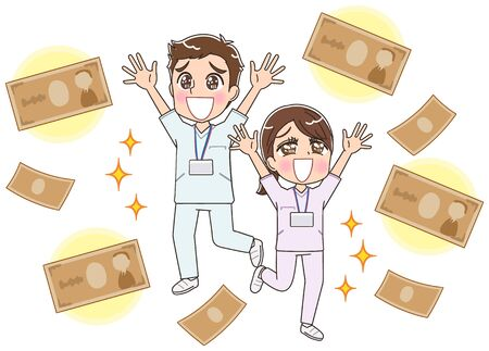 Two young male and female nurses wearing whitish uniforms.Image about money.