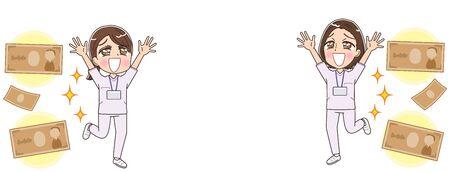 Two female nurses wearing whitish uniforms.Image about money. Ilustrace