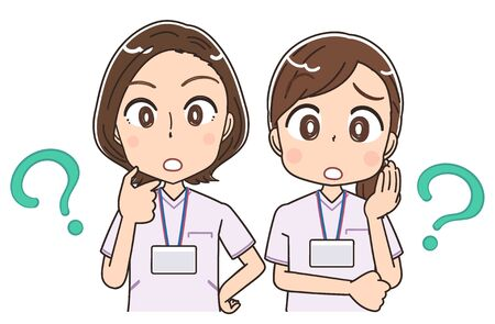 Two female nurses wearing whitish uniforms.They have doubts. Vector Illustration