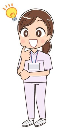 A young nurse woman wearing a whitish uniform.She has positive emotions.