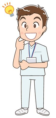 A young nurse man wearing a whitish uniform.He has positive emotions. Stock Illustratie