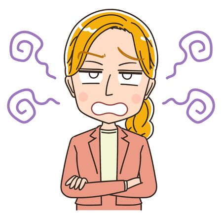 Young Caucasian woman. She is blonde and wearing a suit.She has negative emotions. Illustration
