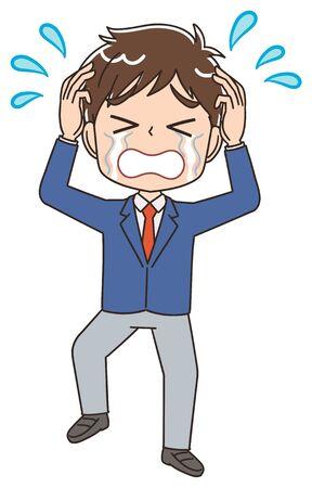 A high school boy in a blazer uniform.He has negative emotions. Vector Illustratie