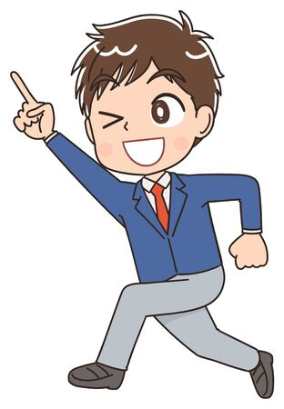 A high school boy in a blazer uniform.He has positive emotions.