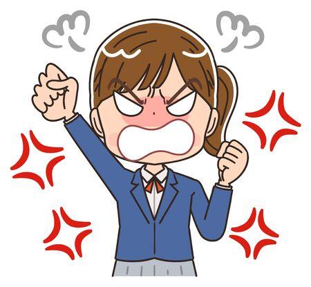 A high school girl in a blazer uniform.She has negative emotions.