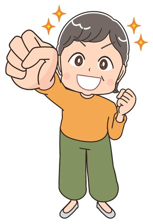 Senior woman with short hair wearing orange clothes.She has positive emotions.