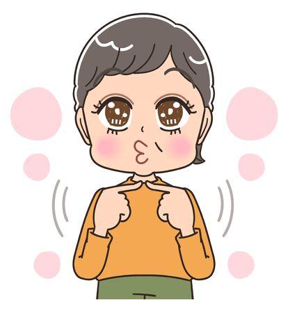 Senior woman with short hair wearing orange clothes.She is emotional. Vektoros illusztráció