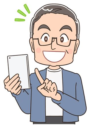 A senior man in blue-grey clothes.He uses a smartphone.
