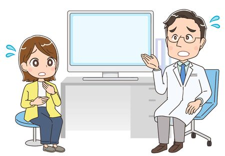 A doctor in a white coat examines a woman.There is a desk and a computer between them. Ilustracje wektorowe