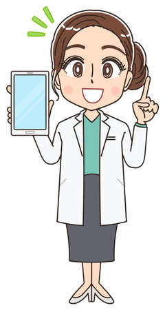 Beautiful doctor in a white coat.She uses a smartphone.