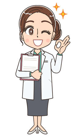 Beautiful doctor in a white coat.She has positive emotions.