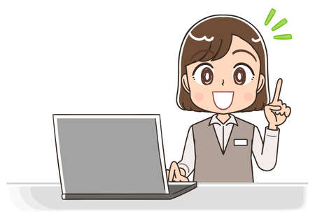 A young woman in a formal uniform.She uses a personal computer.