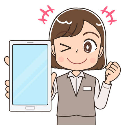 A young woman in a formal uniform.She uses a smartphone.