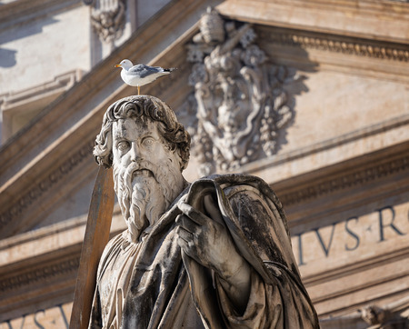 Bird sitting on head of huge st Paolo statue, Rome, Italy