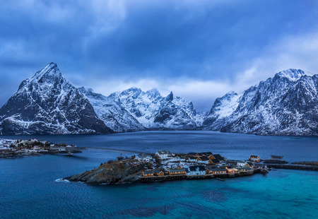Islands of Lofoten in winter. In background majestic mountains covered with snow and ice. North behind Polar Circle
