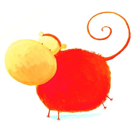 abstract red monkey Stock Photo