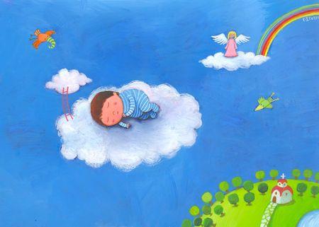 angeles bebe: ni�o durmiendo en las nubes en su pijama azul Foto de archivo