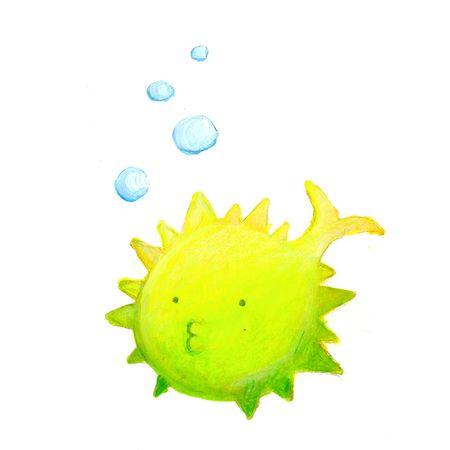 yellow green ball fish