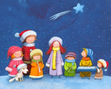 children singing Christmas carols    photo