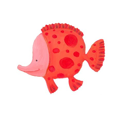 funny red spotted fish  Stock Photo