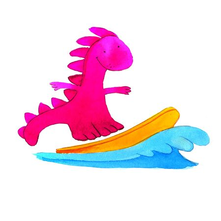 pink dragon is having fun doing surfing Stock Photo - 4815533