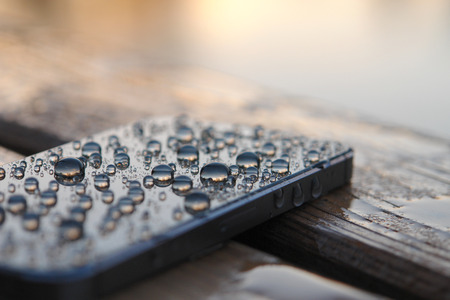 Smartphone with water drops