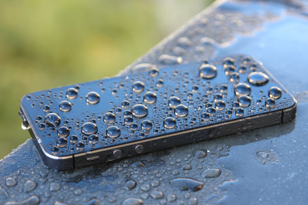 Smartphone with waterdrops