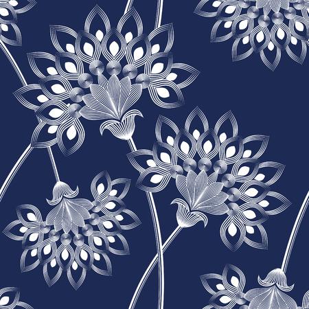 monochrome: Monochrome floral design seamless pattern.