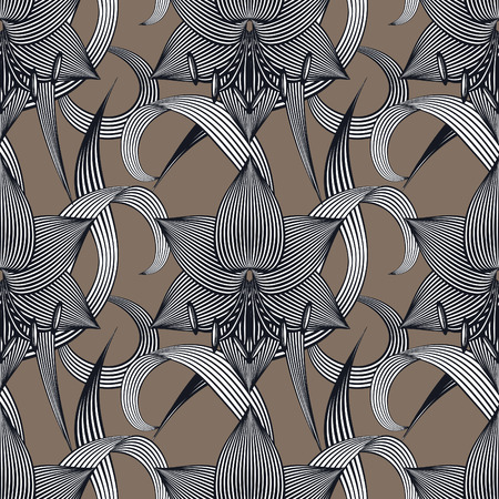 modern garden: Abstract floral seamless vector pattern with amaryllises. Three colors.