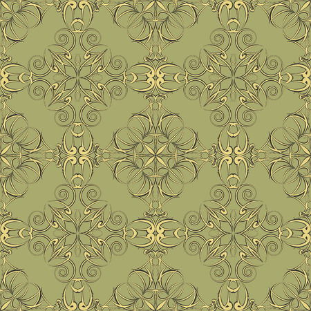 Ornamental vector seamless pattern. Vintage texture. Three colors.