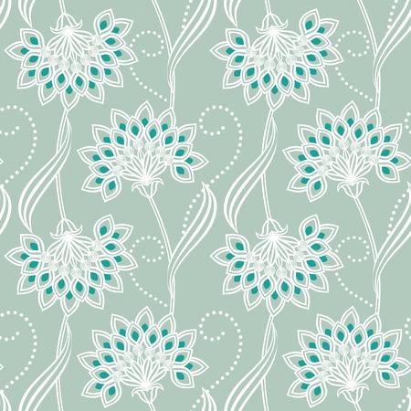 Ornamental floral vector seamless background. Three colors. Ilustração