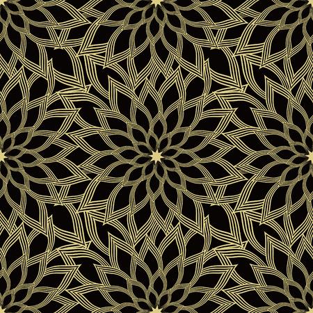 Monochrome vector seamless background. Abstract chrysanthemum design inspired by Japanese traditional kimono pattern. Illusztráció