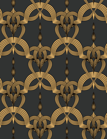 Geometric decorative seamless background. Vector vintage pattern. Three colors.