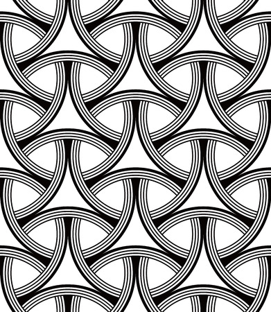greyscale: Seamless Geometric Pattern of Interlocking Rings, Circular Grid. Greyscale background vector design.