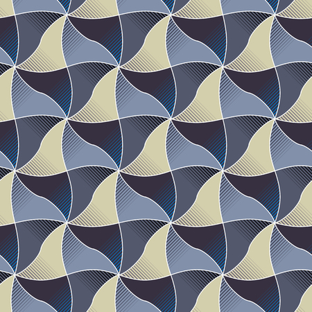 thee: Geometric seamless pattern with wavy rhombus. Vector background of bright with thee dimensional effect. Easy to edit.