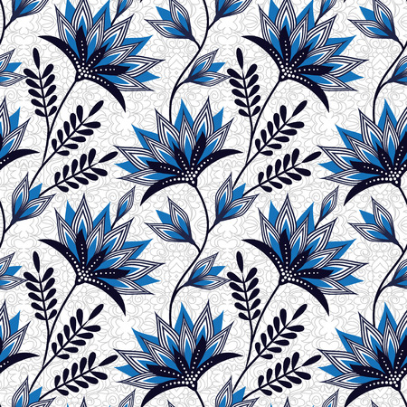 cerulean: Seamless floral vector pattern in cerulean and navy. Bright rhythmic texture on slightly tangled grey background. Easy-to-edit, without gradient.