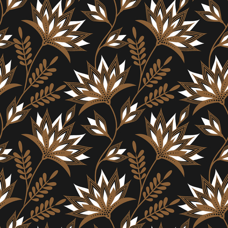 solid color: Seamless floral vector pattern with golden ornament on dark grey solid color background. Gorgeous texture. Easy-to-edit, without gradient.