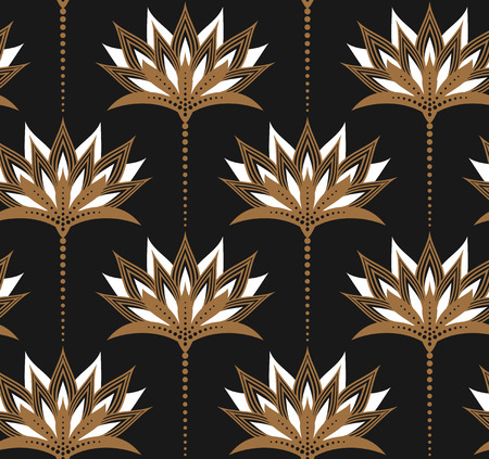 solid color background: Seamless vector pattern with golden floral ornament on dark grey solid color background. Gorgeous texture. Easy-to-edit, without gradient.