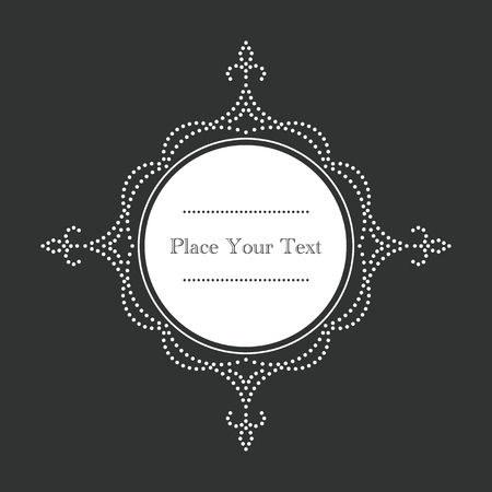background restaurant: Ornamental, vintage style vector frame with white dots on chalkboard background. Circle design for invitations, greeting cards, fliers or announcements. Simple to edit.