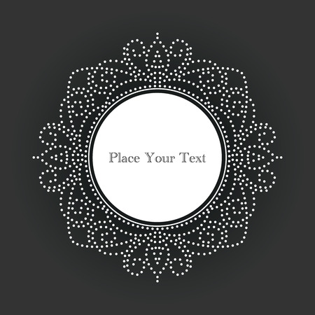 ornamental design: Ornamental, vintage style vector frame with white dots on chalkboard background. Circle design for invitations, greeting cards, fliers or announcements. Simple to edit.