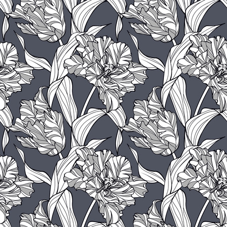 subdued: Abstract floral pattern with stylized tulips. Seamless background graphic in subdued, elegant grayish colors. Simple to edit. Illustration