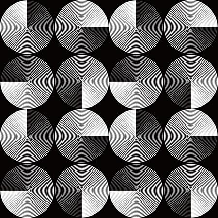 Optical seamless pattern of folded circles Ilustração