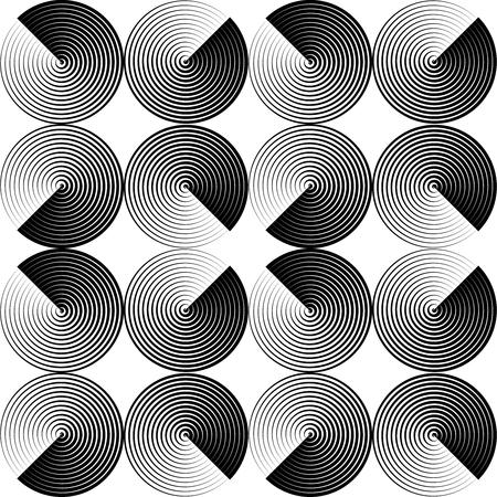 Optical seamless pattern of folded circles. Ilustração