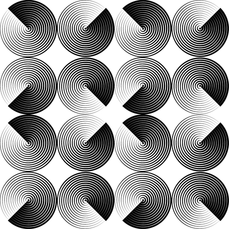 thee: Optical seamless pattern of folded circles. Illustration