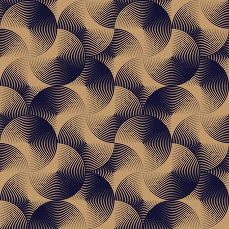 dark beige: Optical seamless pattern of linear circles. geometric background in beige and dark navy blue.