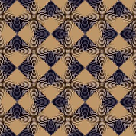 Optical seamless pattern of linear squares. geometric background in beige and dark navy blue.