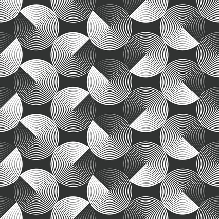 Optical illusion, seamless pattern of folded circles. Vector background of monochrome and geometric. Simple to edit, without gradient.