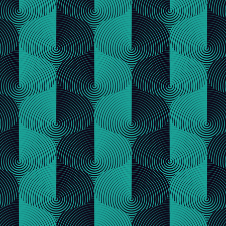 Optical wavy seamless pattern in turquoise and dark blue. Vector metallic texture. Simple to edit, without gradient.