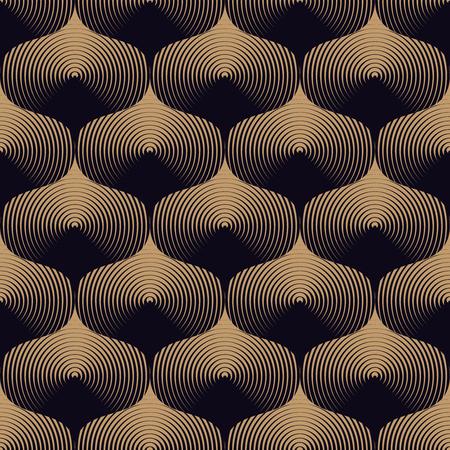 dark beige: Optical wavy seamless pattern in beige and dark navy blue. Metallic texture. Simple to edit, without gradient.